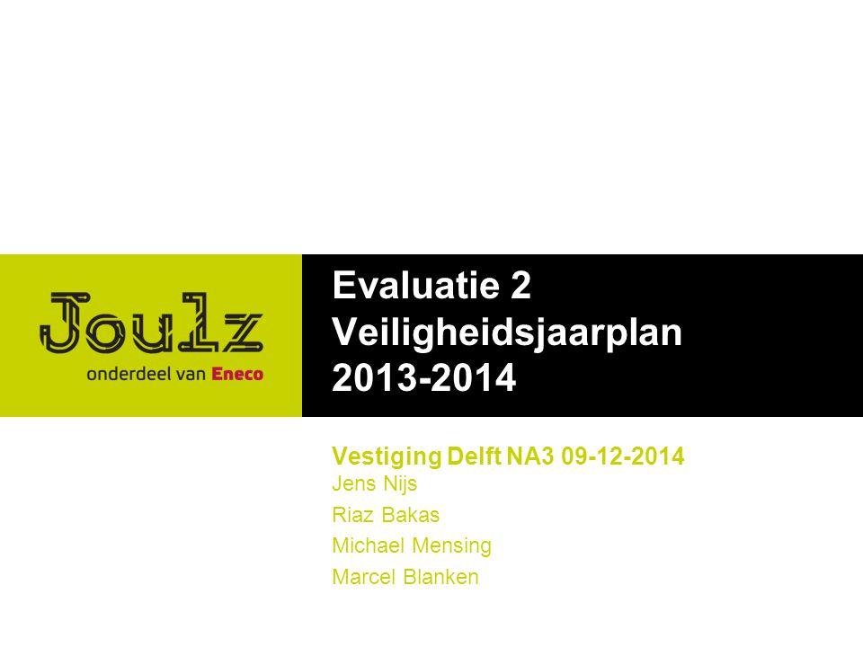 Evaluatie 2 Veiligheidsjaarplan 2013-2014 Vestiging Delft NA3 09-12-2014 Jens Nijs Riaz Bakas Michael Mensing Marcel Blanken
