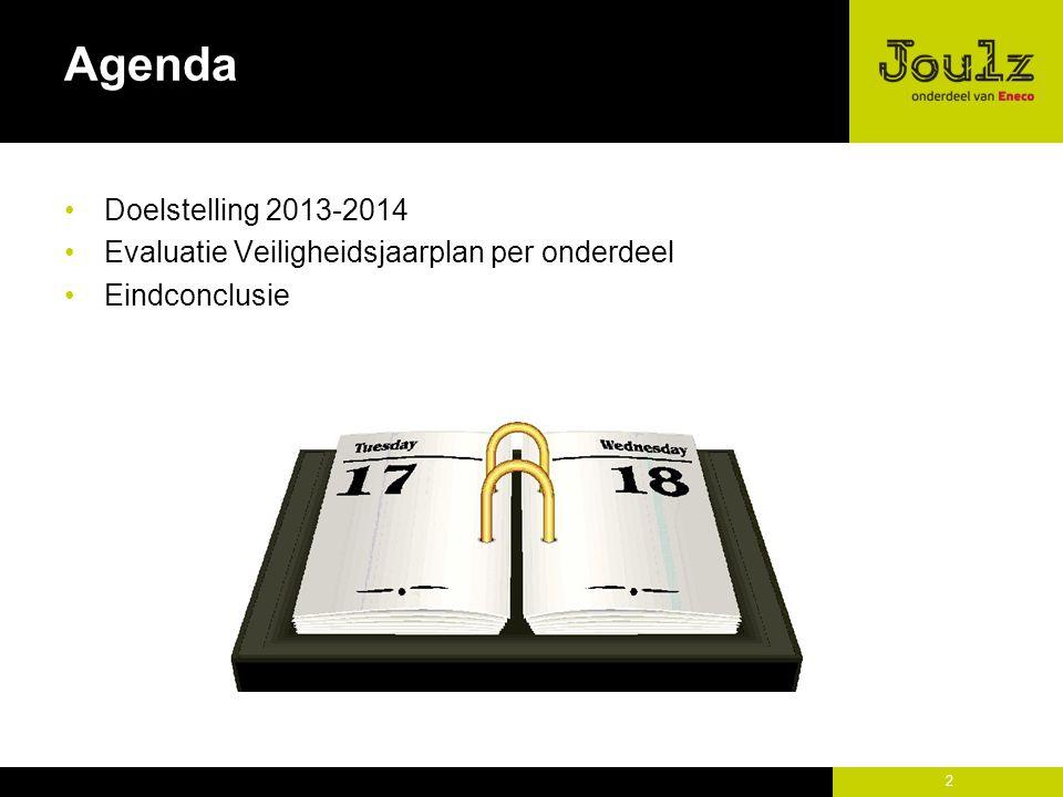 2 Agenda Doelstelling 2013-2014 Evaluatie Veiligheidsjaarplan per onderdeel Eindconclusie