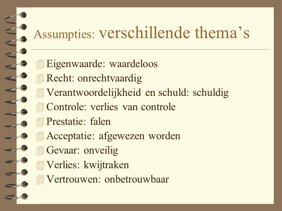 Assumpties 4 Automatische gedachten zijn gebaseerd op assumpties. 4 Assumptie is een algemene idee die iemand heeft over zichzelf, anderen en de werel