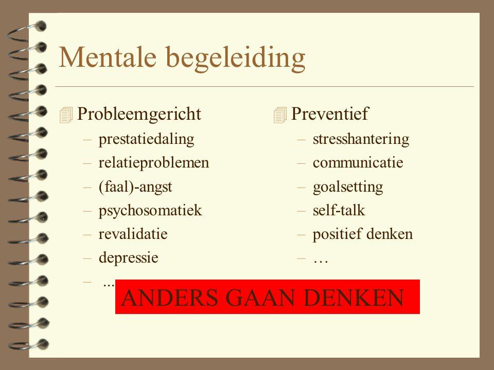 Mentale begeleiding 4 Probleemgericht –prestatiedaling –relatieproblemen –(faal)-angst –psychosomatiek –revalidatie –depressie –...