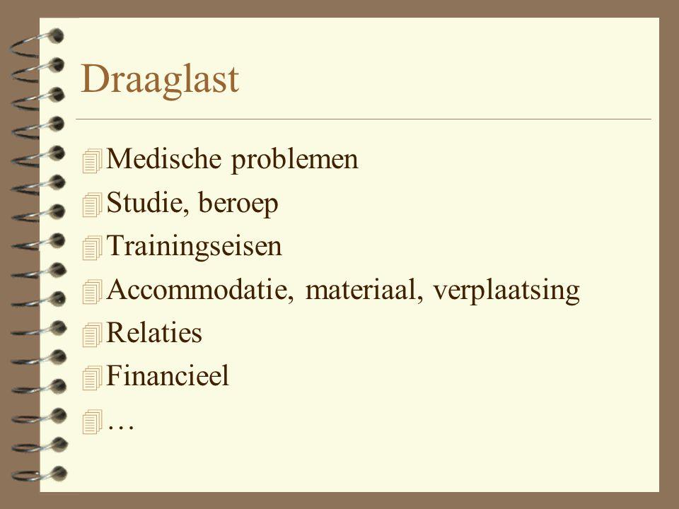 Draaglast 4 Medische problemen 4 Studie, beroep 4 Trainingseisen 4 Accommodatie, materiaal, verplaatsing 4 Relaties 4 Financieel 4 …