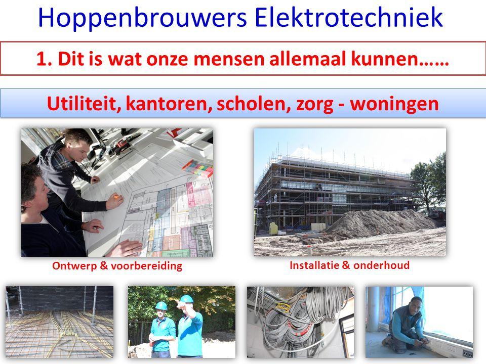 Utiliteit, kantoren, scholen, zorg - woningen Ontwerp & voorbereiding Installatie & onderhoud Hoppenbrouwers Elektrotechniek 1. Dit is wat onze mensen