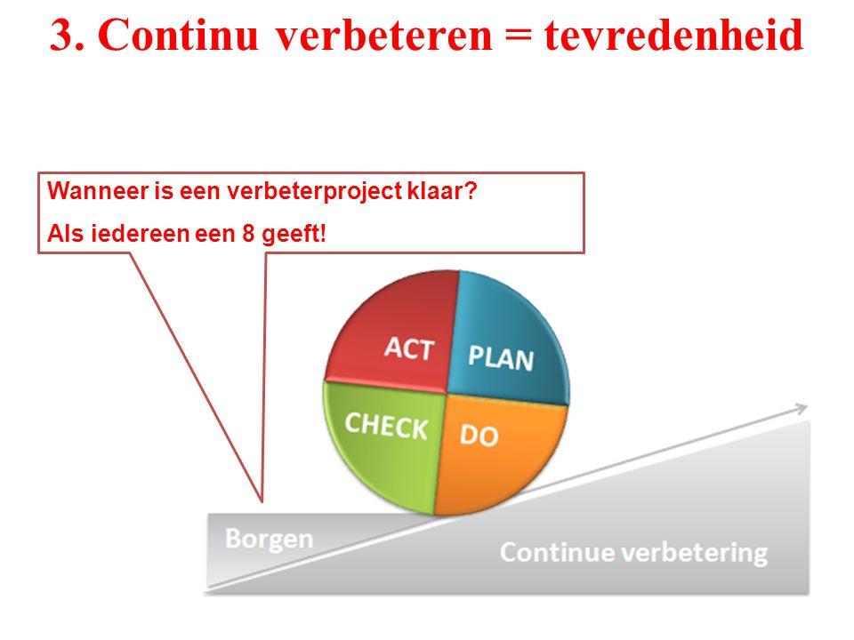 3. Continu verbeteren = tevredenheid Wanneer is een verbeterproject klaar? Als iedereen een 8 geeft!