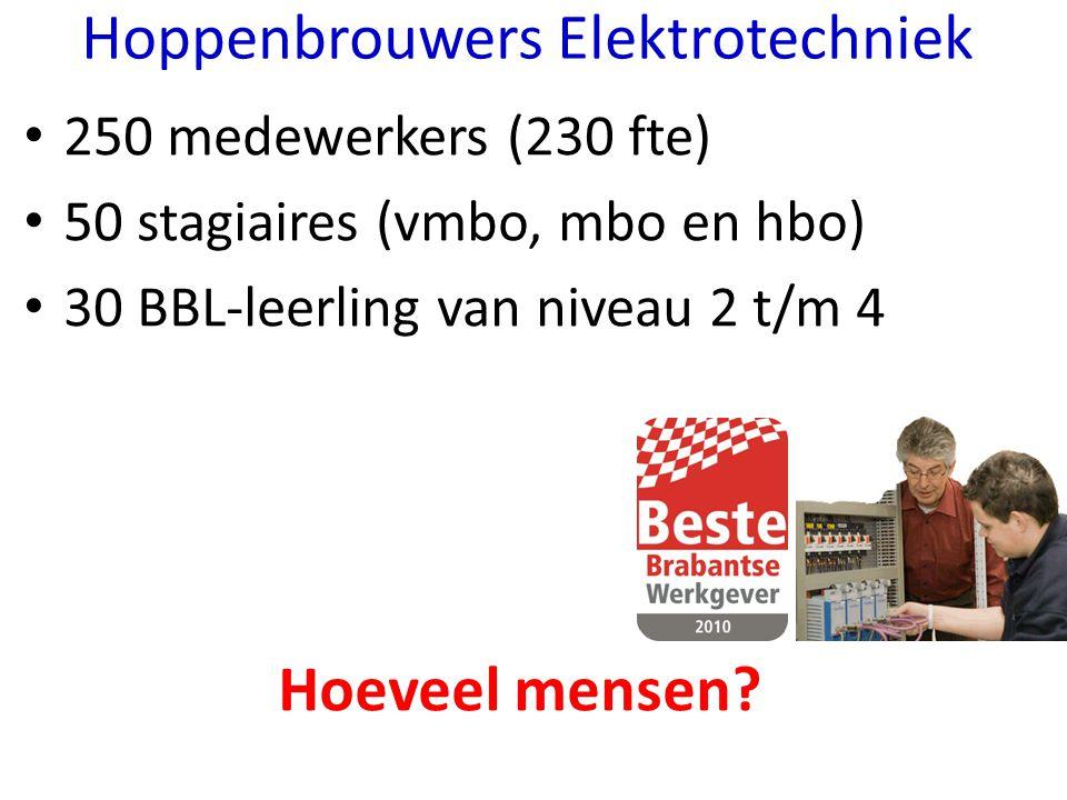 250 medewerkers (230 fte) 50 stagiaires (vmbo, mbo en hbo) 30 BBL-leerling van niveau 2 t/m 4 Hoeveel mensen? Hoppenbrouwers Elektrotechniek