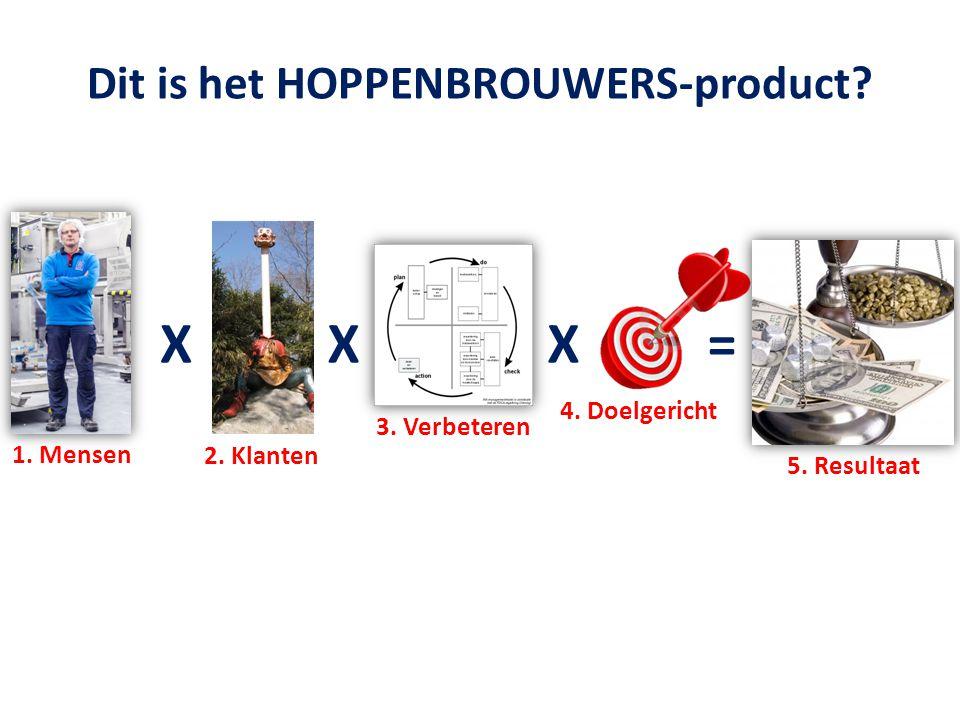Dit is het HOPPENBROUWERS-product? 1. Mensen XXX= 2. Klanten 3. Verbeteren 4. Doelgericht 5. Resultaat