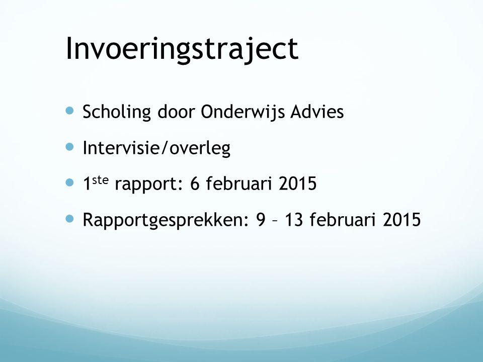 Invoeringstraject Scholing door Onderwijs Advies Intervisie/overleg 1 ste rapport: 6 februari 2015 Rapportgesprekken: 9 – 13 februari 2015