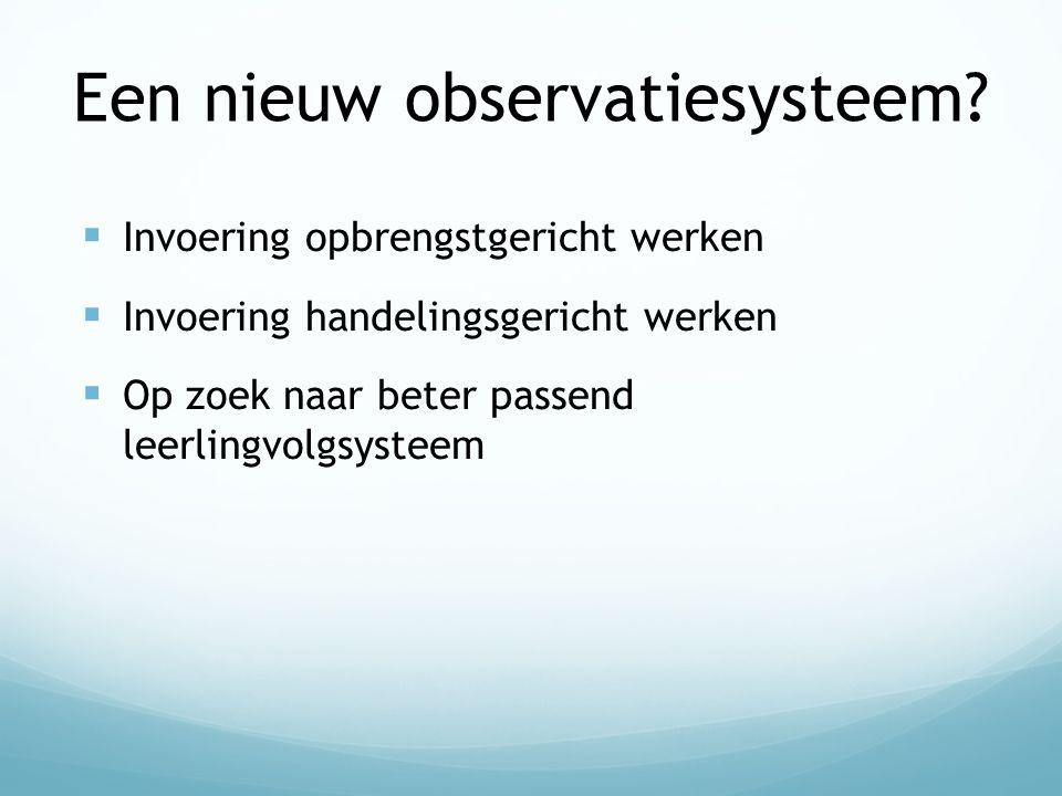 Een nieuw observatiesysteem?  Invoering opbrengstgericht werken  Invoering handelingsgericht werken  Op zoek naar beter passend leerlingvolgsysteem