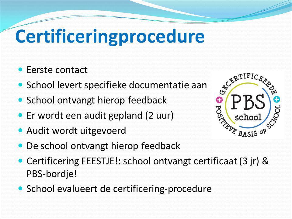 Certificeringprocedure Eerste contact School levert specifieke documentatie aan School ontvangt hierop feedback Er wordt een audit gepland (2 uur) Aud
