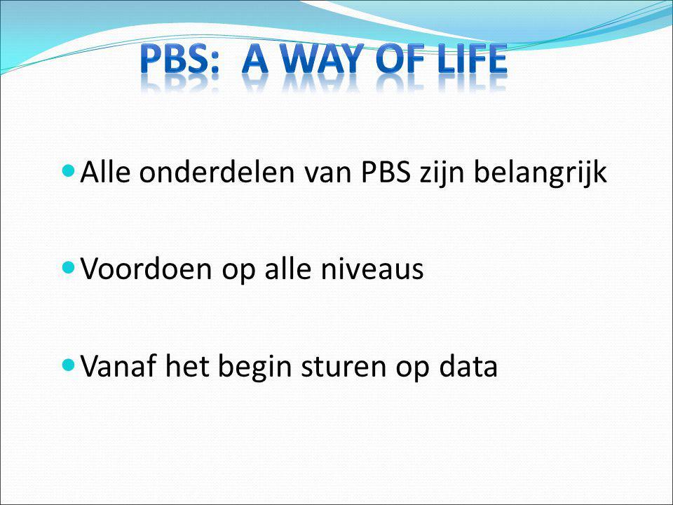 Alle onderdelen van PBS zijn belangrijk Voordoen op alle niveaus Vanaf het begin sturen op data