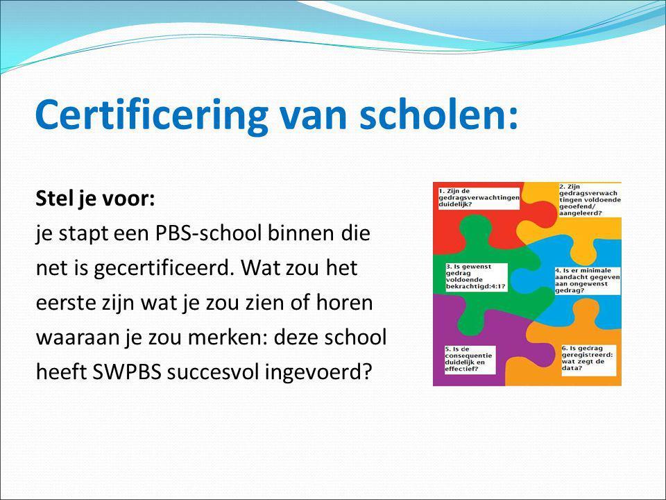 Certificering van scholen: Stel je voor: je stapt een PBS-school binnen die net is gecertificeerd. Wat zou het eerste zijn wat je zou zien of horen wa