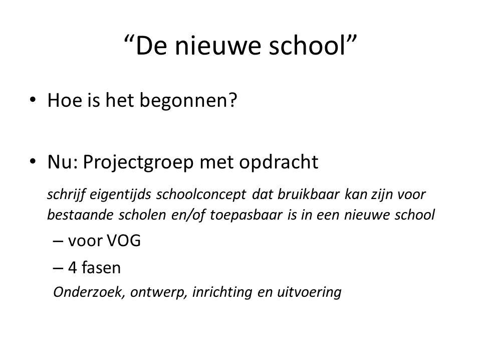 """""""De nieuwe school"""" Hoe is het begonnen? Nu: Projectgroep met opdracht schrijf eigentijds schoolconcept dat bruikbaar kan zijn voor bestaande scholen e"""