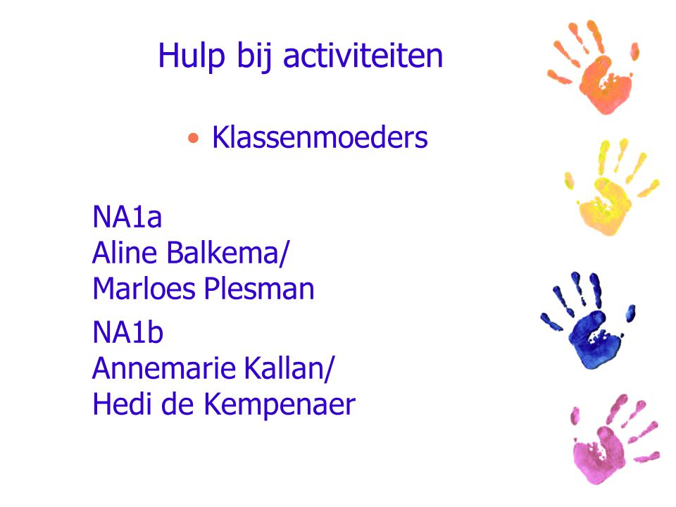 Hulp bij activiteiten Klassenmoeders NA1a Aline Balkema/ Marloes Plesman NA1b Annemarie Kallan/ Hedi de Kempenaer