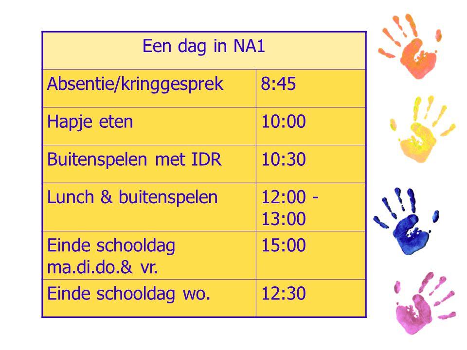 Een dag in NA1 Absentie/kringgesprek8:45 Hapje eten10:00 Buitenspelen met IDR10:30 Lunch & buitenspelen12:00 - 13:00 Einde schooldag ma.di.do.& vr. 15