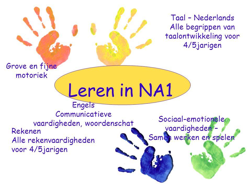 Leren in NA1 Engels Communicatieve vaardigheden, woordenschat Taal – Nederlands Alle begrippen van taalontwikkeling voor 4/5jarigen Sociaal-emotionele