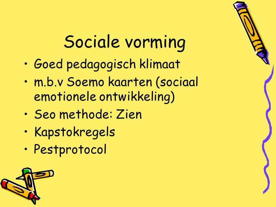 Sociale vorming Goed pedagogisch klimaat m.b.v Soemo kaarten (sociaal emotionele ontwikkeling) Seo methode: Zien Kapstokregels Pestprotocol