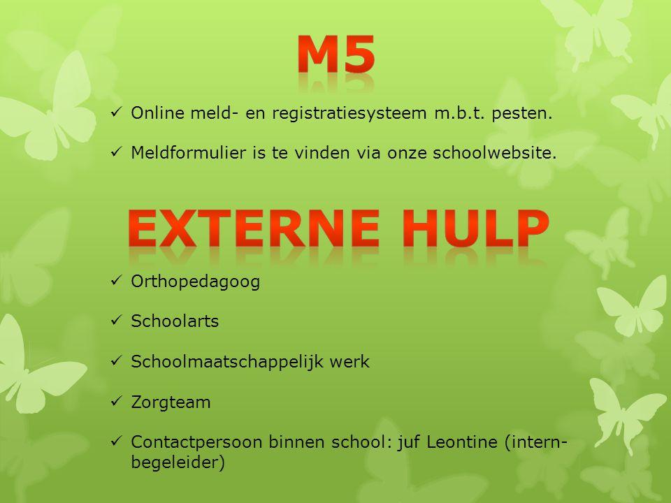 Online meld- en registratiesysteem m.b.t. pesten. Meldformulier is te vinden via onze schoolwebsite. Orthopedagoog Schoolarts Schoolmaatschappelijk we