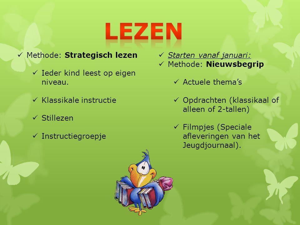 Methode: Strategisch lezen Ieder kind leest op eigen niveau. Klassikale instructie Stillezen Instructiegroepje Starten vanaf januari: Methode: Nieuwsb