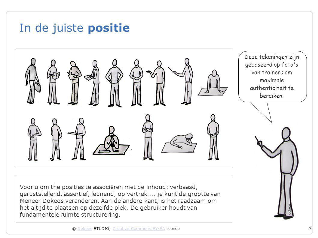 © Dokeos STUDIO, Creative Commons BY-SA licenseDokeosCreative Commons BY-SA 6 In de juiste positie Voor u om the posities te associëren met de inhoud: verbaasd, geruststellend, assertief, leunend, op vertrek...