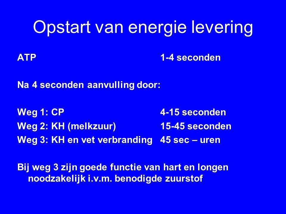 Opstart van energie levering ATP1-4 seconden Na 4 seconden aanvulling door: Weg 1: CP4-15 seconden Weg 2: KH (melkzuur)15-45 seconden Weg 3: KH en vet