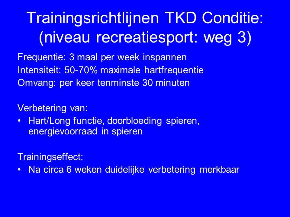 Trainingsrichtlijnen TKD Conditie: (niveau recreatiesport: weg 3) Frequentie: 3 maal per week inspannen Intensiteit: 50-70% maximale hartfrequentie Om