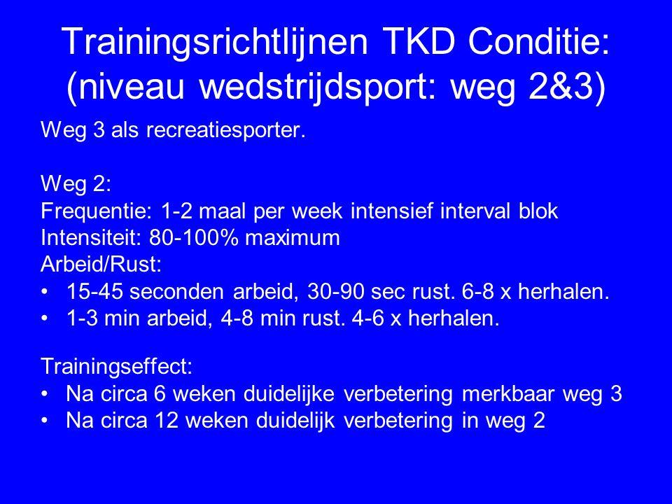Trainingsrichtlijnen TKD Conditie: (niveau wedstrijdsport: weg 2&3) Weg 3 als recreatiesporter. Weg 2: Frequentie: 1-2 maal per week intensief interva