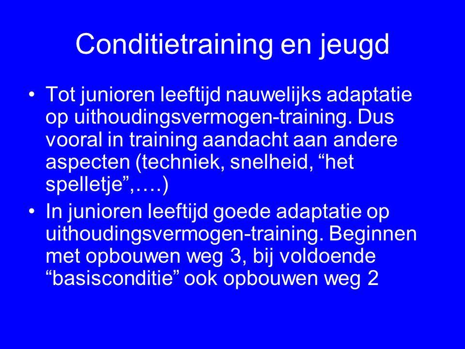 Conditietraining en jeugd Tot junioren leeftijd nauwelijks adaptatie op uithoudingsvermogen-training. Dus vooral in training aandacht aan andere aspec