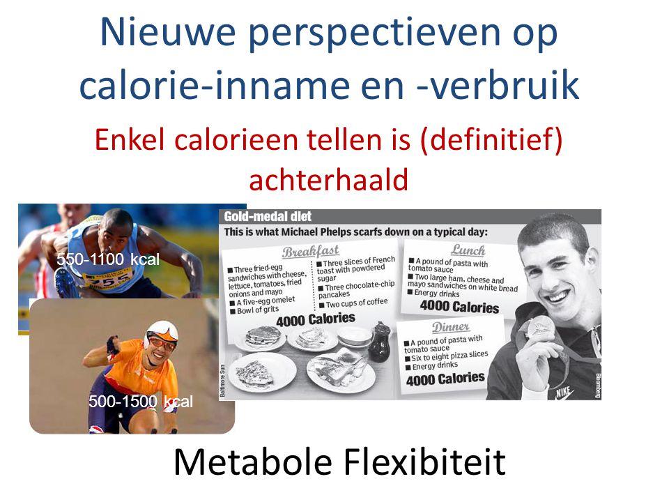 Metabole Flexibiteit Nieuwe perspectieven op calorie-inname en -verbruik Enkel calorieen tellen is (definitief) achterhaald 550-1100 kcal 500-1500 kcal