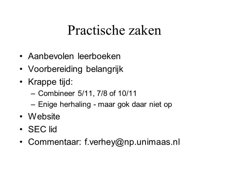 Practische zaken Aanbevolen leerboeken Voorbereiding belangrijk Krappe tijd: –Combineer 5/11, 7/8 of 10/11 –Enige herhaling - maar gok daar niet op Website SEC lid Commentaar: f.verhey@np.unimaas.nl