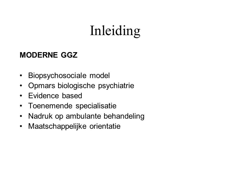 GGZ in Maastricht Gezondheidszorgvoorzieningen Afdeling psychiatrie azM PMS Vijverdal RIAGG Maastricht RIBW Vrijgevestigden Universitair Vakgroep Psychiatrie en Neuropsychologie Instituut Hersenen en Gedrag, 3 divisies –Cognitieve stoornissen –Psychopathologie –Cellulaire neurowetenschappen