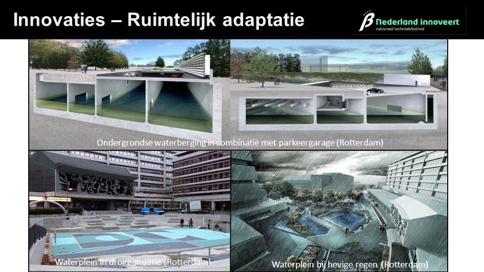Dijk in duin met parkeergarage (Katwijk) Innovaties – Ruimtelijk adaptatie Waterplein in droge situatie (Rotterdam) Waterplein bij hevige regen (Rotte