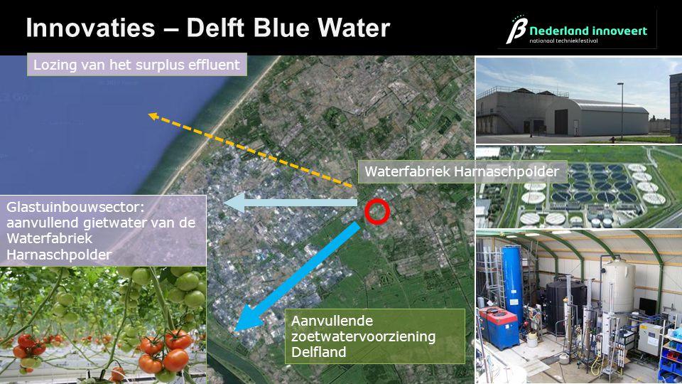 Innovaties – Delft Blue Water Lozing van het surplus effluent Aanvullende zoetwatervoorziening Delfland Glastuinbouwsector: aanvullend gietwater van d