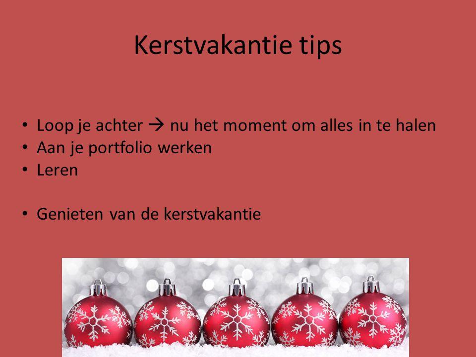 Kerstvakantie tips Loop je achter  nu het moment om alles in te halen Aan je portfolio werken Leren Genieten van de kerstvakantie