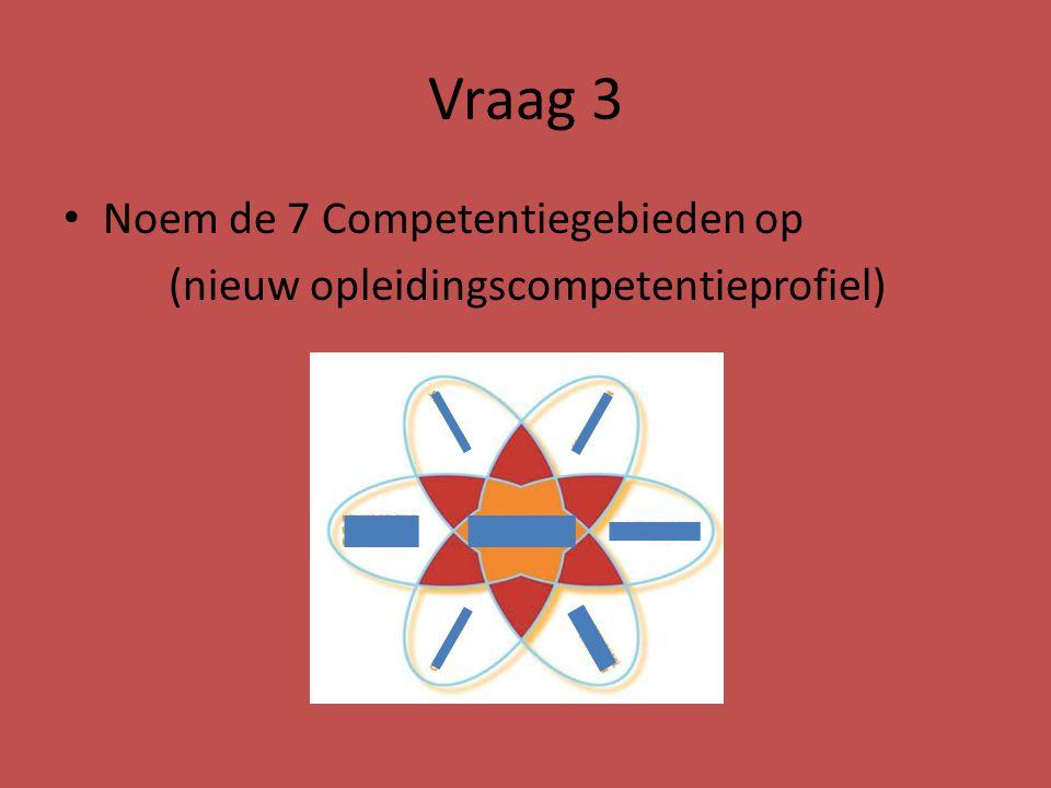 Vraag 3 Noem de 7 Competentiegebieden op (nieuw opleidingscompetentieprofiel)