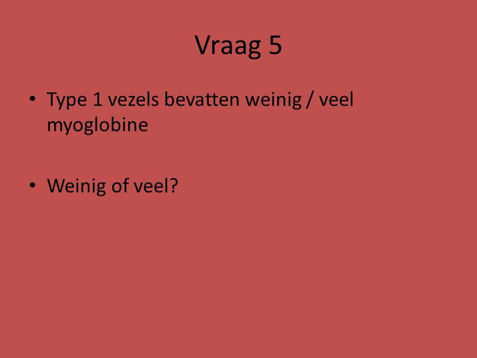 Vraag 5 Type 1 vezels bevatten weinig / veel myoglobine Weinig of veel?