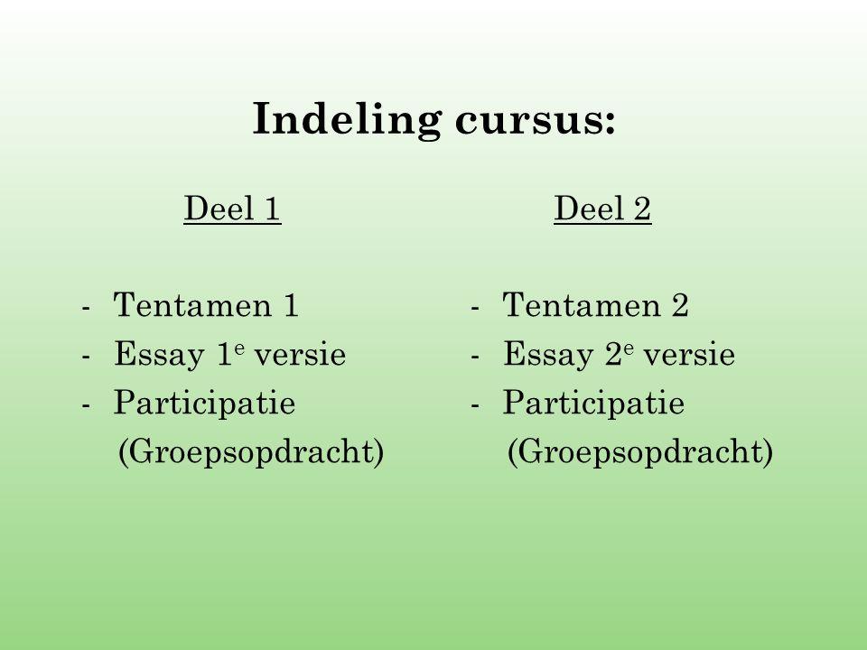 Indeling cursus: Deel 1 -Tentamen 1 -Essay 1 e versie -Participatie (Groepsopdracht) Deel 2 -Tentamen 2 -Essay 2 e versie -Participatie (Groepsopdrach