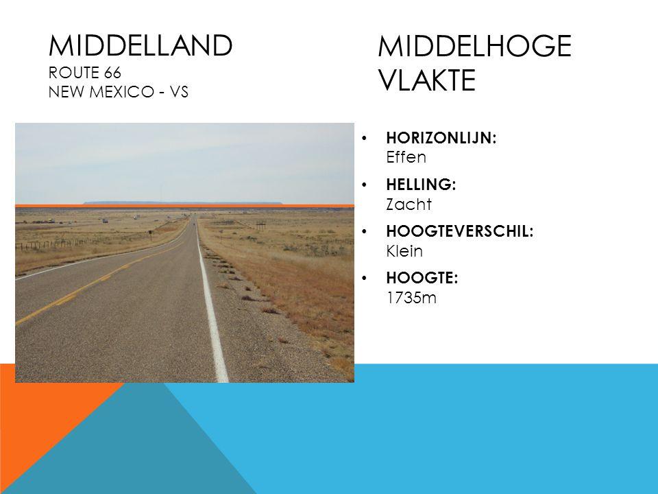 HORIZONLIJN: Effen HELLING: Zacht HOOGTEVERSCHIL: Klein HOOGTE: 1735m MIDDELLAND ROUTE 66 NEW MEXICO - VS MIDDELHOGE VLAKTE