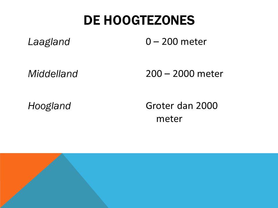 Laagland Middelland Hoogland 0 – 200 meter 200 – 2000 meter Groter dan 2000 meter DE HOOGTEZONES