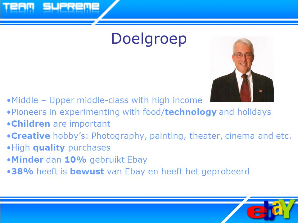 Doelgroep Middle – Upper middle-class with high income Pioneers in experimenting with food/technology and holidays Children are important Creative hobby's: Photography, painting, theater, cinema and etc.