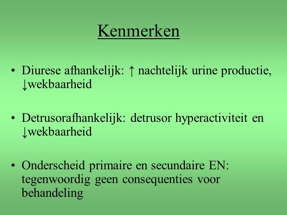 Kenmerken Diurese afhankelijk: ↑ nachtelijk urine productie, ↓wekbaarheid Detrusorafhankelijk: detrusor hyperactiviteit en ↓wekbaarheid Onderscheid pr