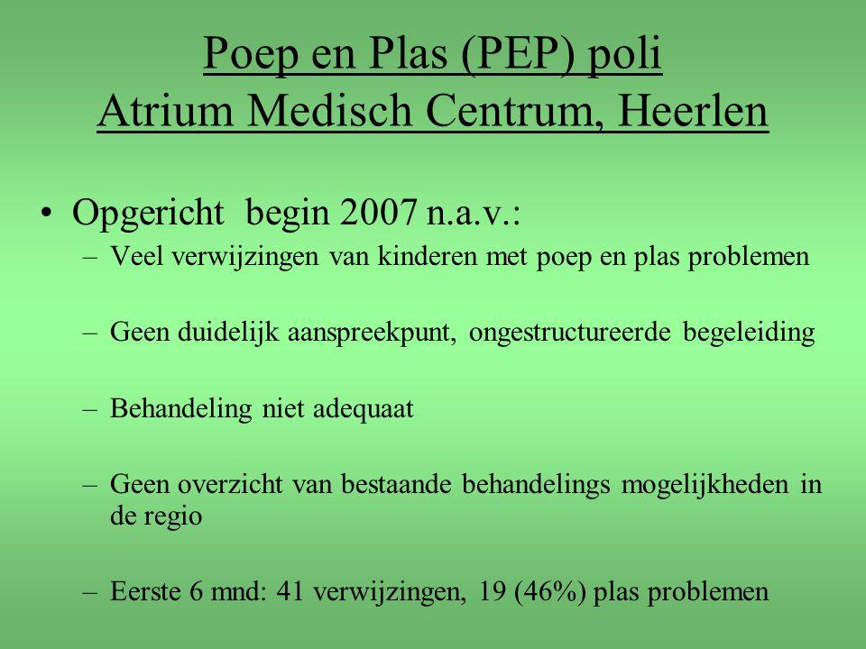 Poep en Plas (PEP) poli Atrium Medisch Centrum, Heerlen Opgericht begin 2007 n.a.v.: –Veel verwijzingen van kinderen met poep en plas problemen –Geen