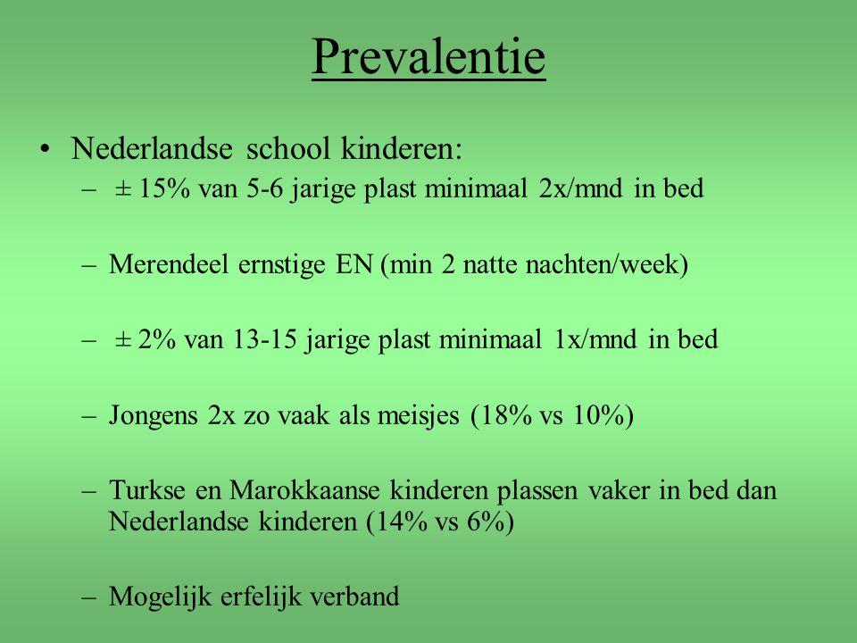 Prevalentie Nederlandse school kinderen: – ± 15% van 5-6 jarige plast minimaal 2x/mnd in bed –Merendeel ernstige EN (min 2 natte nachten/week) – ± 2%