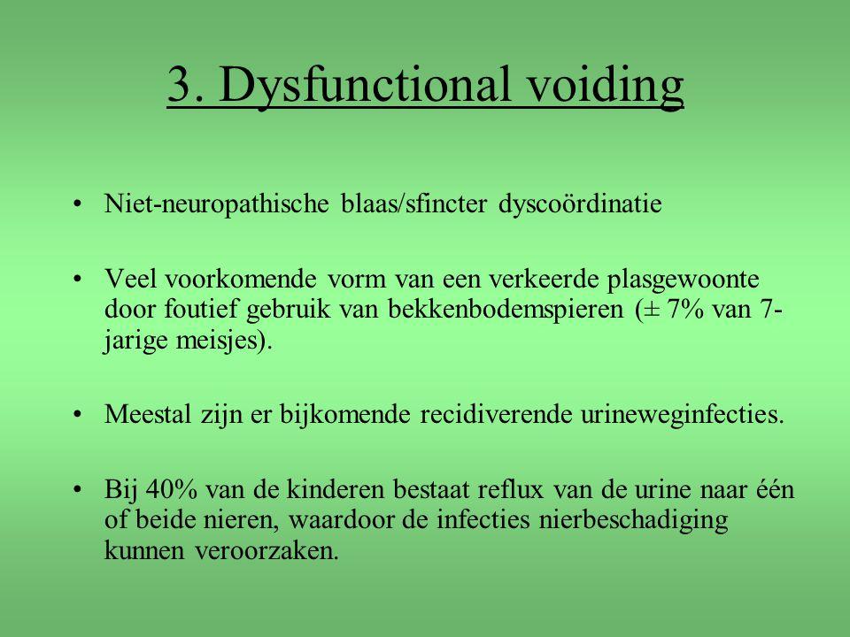 3. Dysfunctional voiding Niet-neuropathische blaas/sfincter dyscoördinatie Veel voorkomende vorm van een verkeerde plasgewoonte door foutief gebruik v