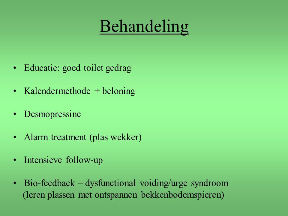 Behandeling Educatie: goed toilet gedrag Kalendermethode + beloning Desmopressine Alarm treatment (plas wekker) Intensieve follow-up Bio-feedback – dy