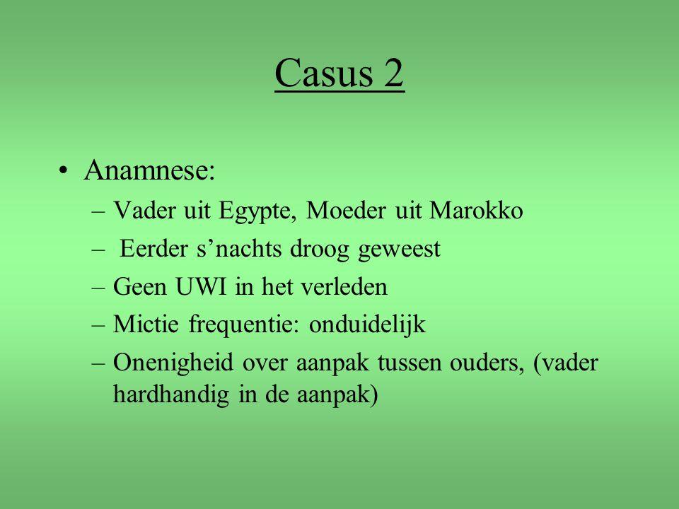 Casus 2 Anamnese: –Vader uit Egypte, Moeder uit Marokko – Eerder s'nachts droog geweest –Geen UWI in het verleden –Mictie frequentie: onduidelijk –One