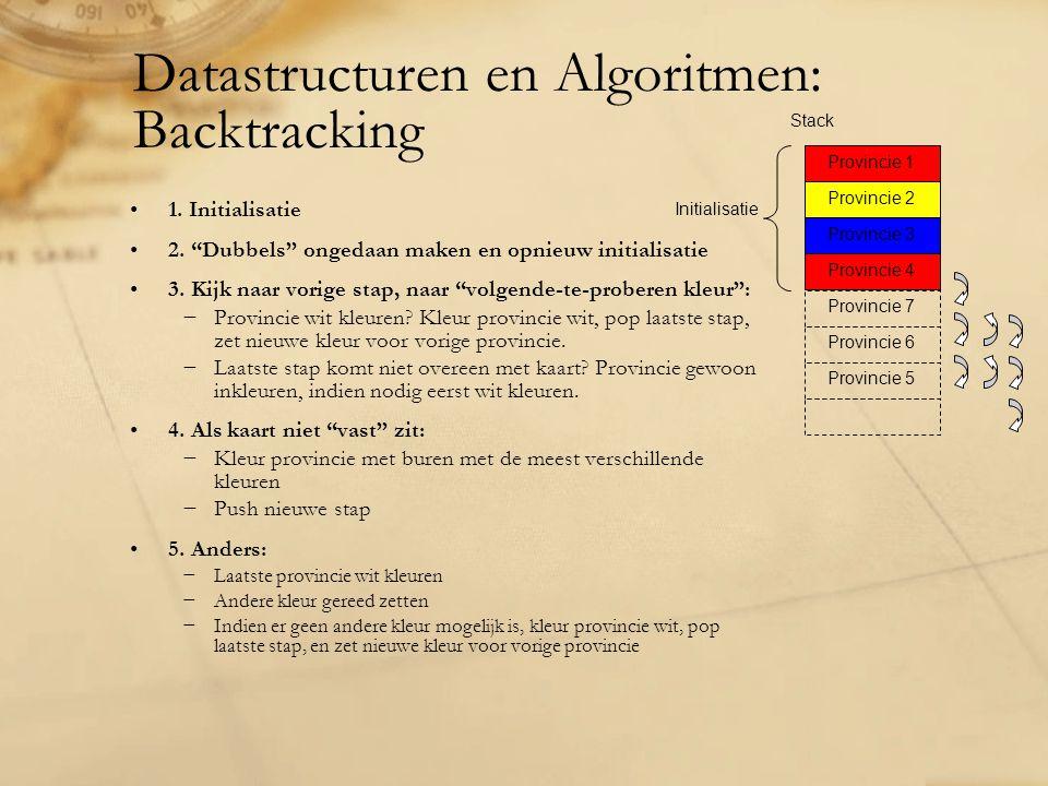 """Datastructuren en Algoritmen: Backtracking 1. Initialisatie 2. """"Dubbels"""" ongedaan maken en opnieuw initialisatie 3. Kijk naar vorige stap, naar """"volge"""