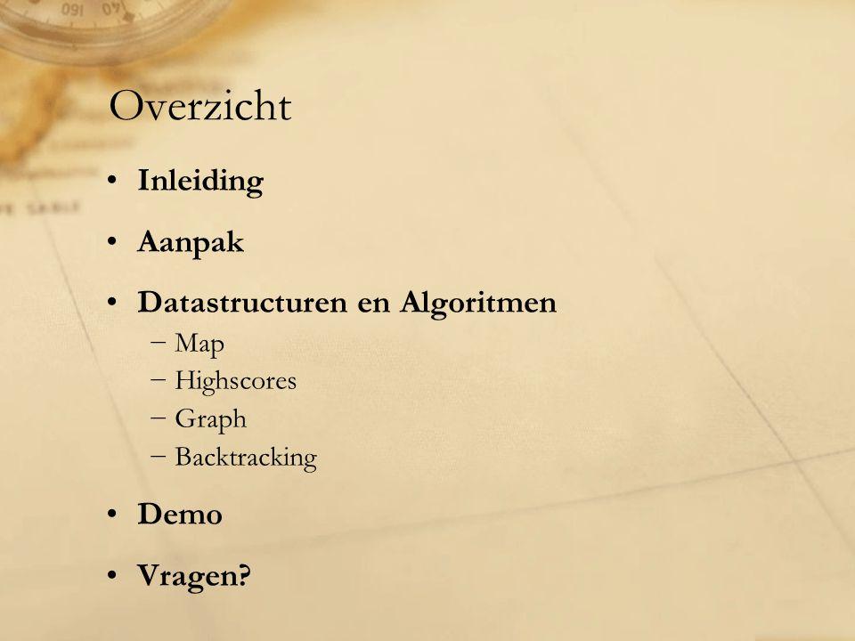 Inleiding Aanpak Datastructuren en Algoritmen −Map −Highscores −Graph −Backtracking Demo Vragen? Overzicht