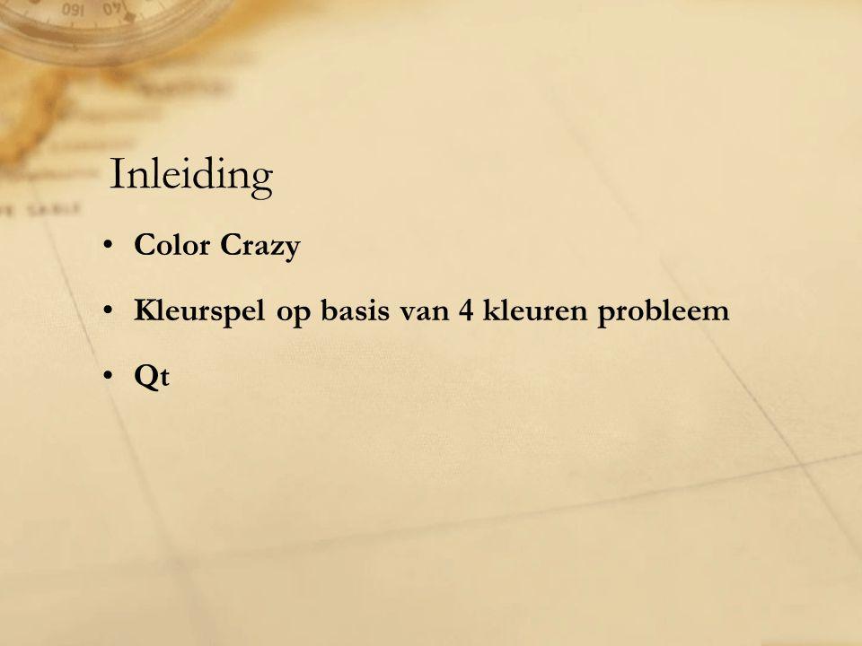 Inleiding Color Crazy Kleurspel op basis van 4 kleuren probleem Qt