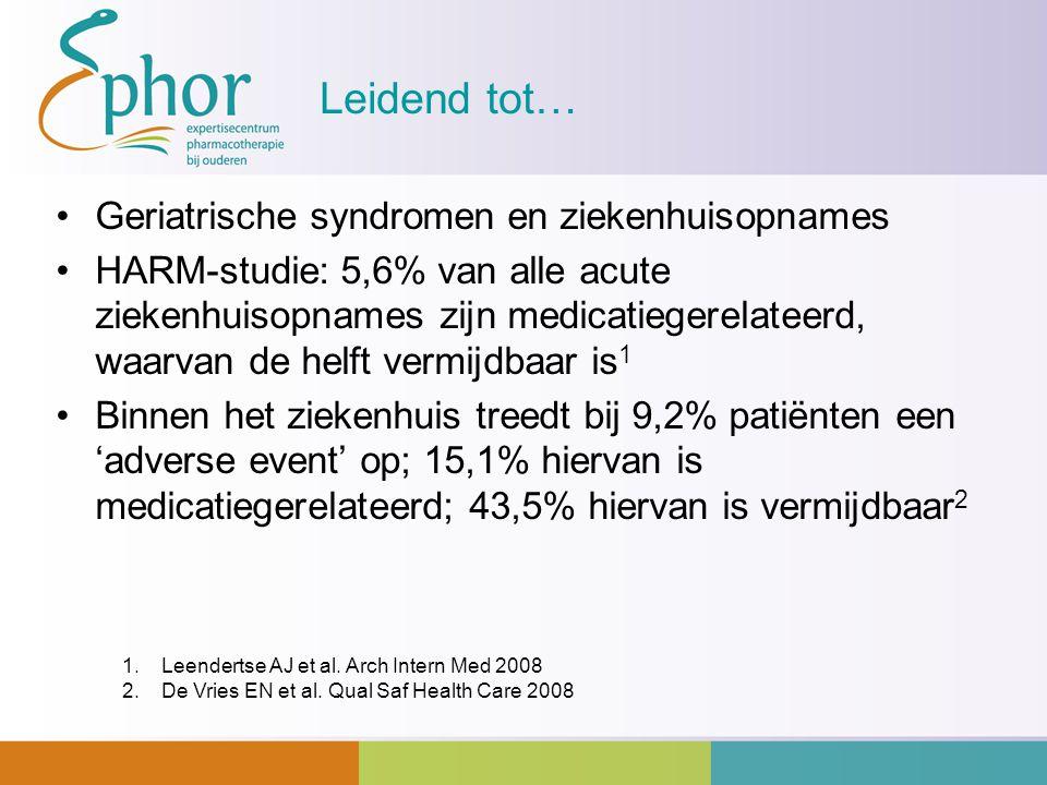 Leidend tot… Geriatrische syndromen en ziekenhuisopnames HARM-studie: 5,6% van alle acute ziekenhuisopnames zijn medicatiegerelateerd, waarvan de helf
