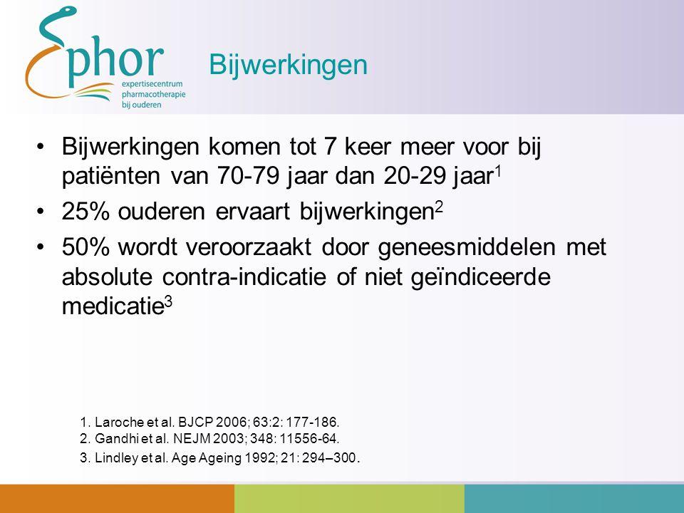 Bijwerkingen Bijwerkingen komen tot 7 keer meer voor bij patiënten van 70-79 jaar dan 20-29 jaar 1 25% ouderen ervaart bijwerkingen 2 50% wordt veroor