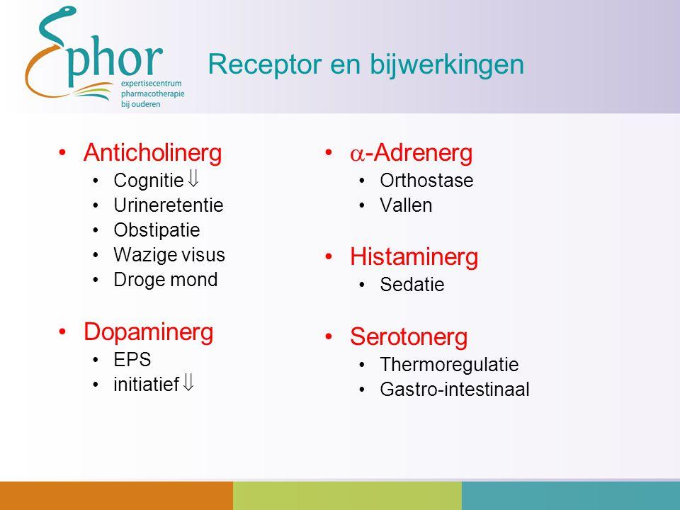 Receptor en bijwerkingen Anticholinerg Cognitie  Urineretentie Obstipatie Wazige visus Droge mond Dopaminerg EPS initiatief   -Adrenerg Orthostase